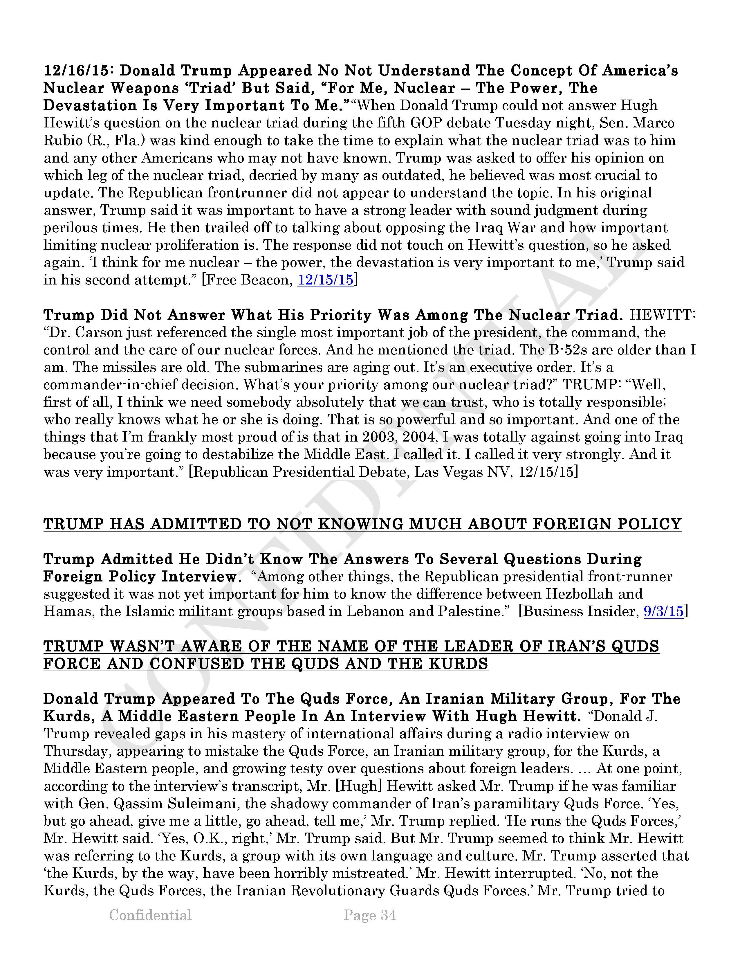 Donald Trump Report Dnc