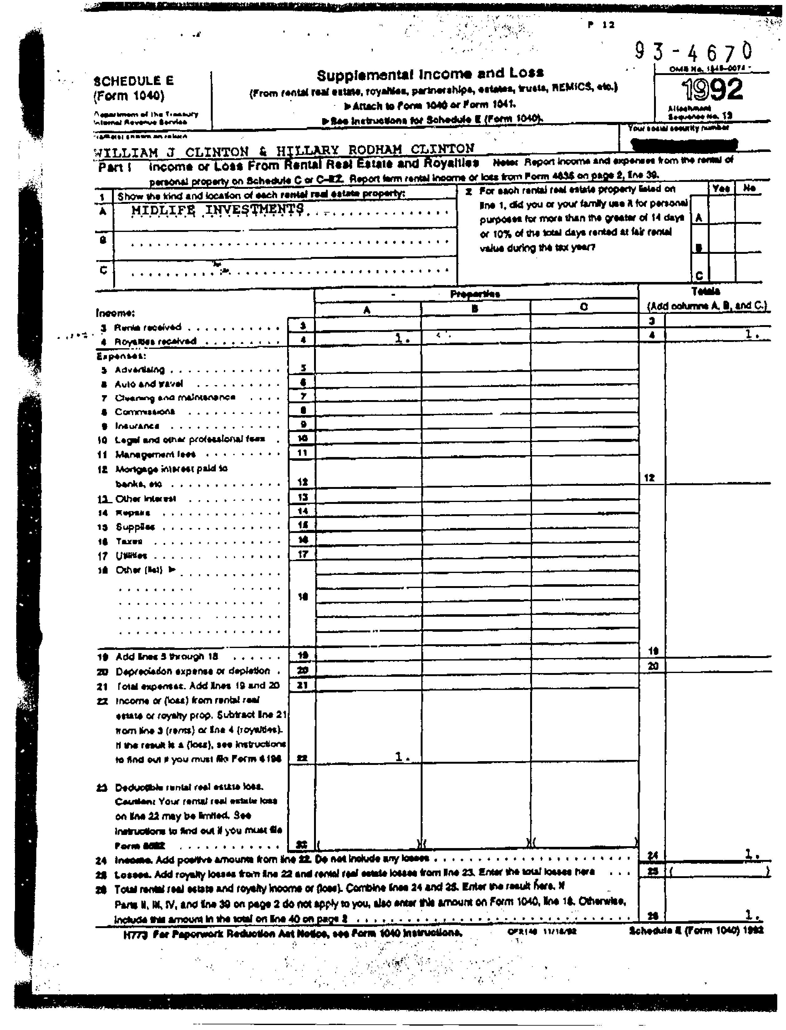 1992 us individual income tax return bclinton1992 i falaconquin