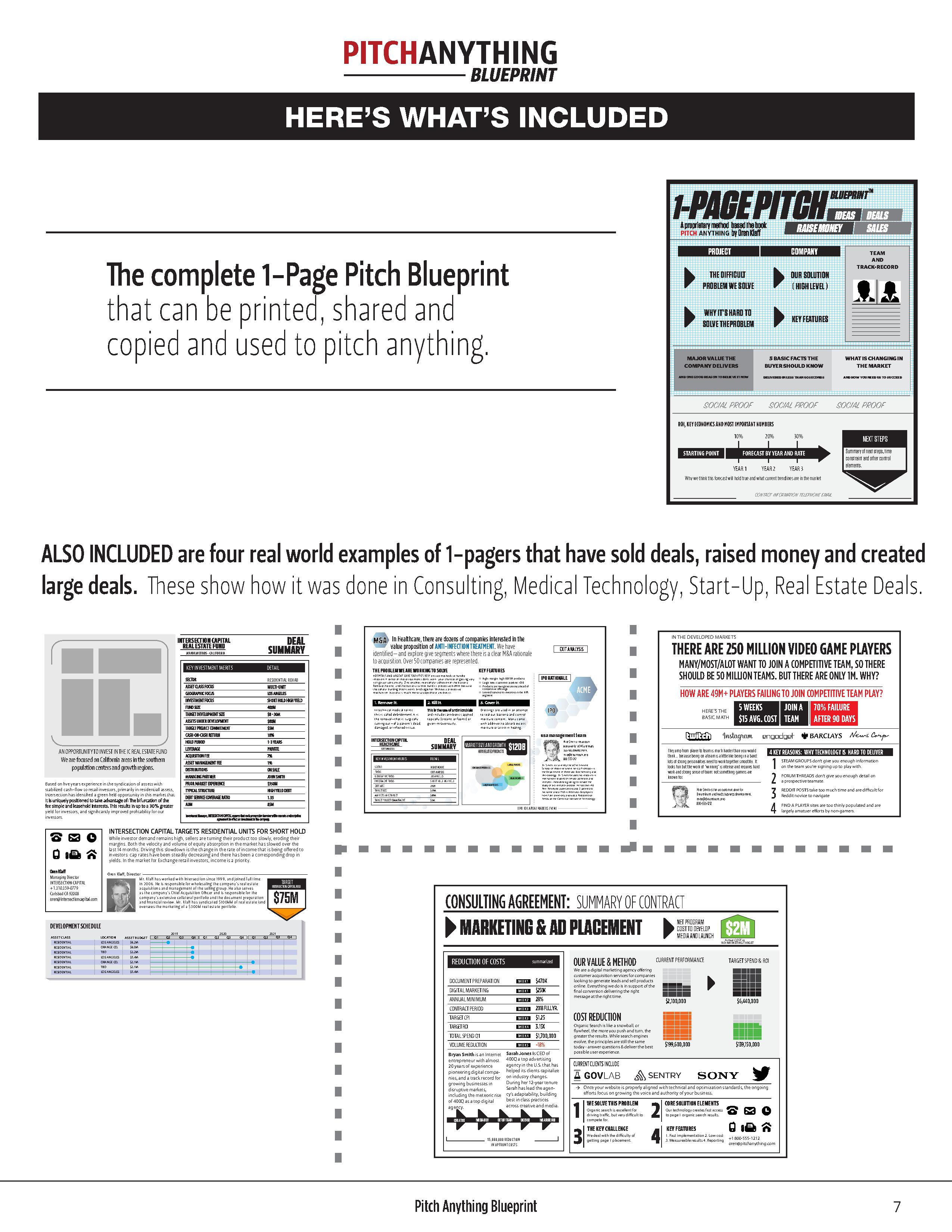 Pitch anything blueprint ideas deals pitch anything raise money sales project company team and track record he complete 1 page pitch blueprint the difficult our solution malvernweather Images